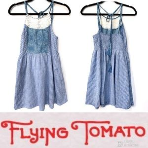 Flying tomato white cream summer dress tassel tie